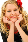 Blonde with red flower in hair royalty free stock images