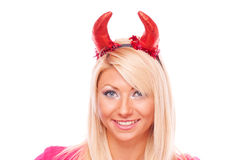 Blonde with red horns Royalty Free Stock Photo