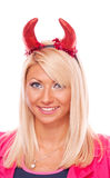 Blonde with red horns Royalty Free Stock Image