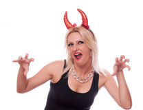 Blonde with red horns Royalty Free Stock Images
