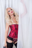 Blonde in red lingerie Stock Photo