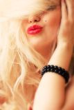 The blonde with red lips Royalty Free Stock Photography