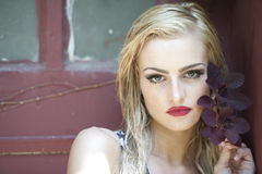 Blonde With Red Lips Stock Image