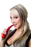 blonde with red pepper Stock Photography