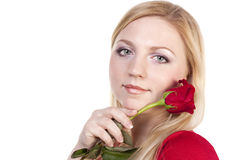 Blonde with a red rose Stock Photos