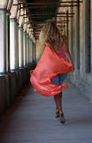 Blonde with red shawl Stock Photo