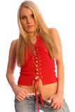 Blonde in Red two Royalty Free Stock Photo