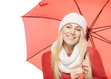 Blonde with red umbrella Royalty Free Stock Photos