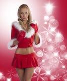 Blonde reizvolle Weihnachtsdame Stockfotografie
