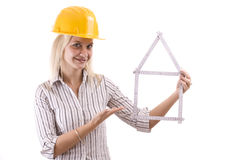 Blonde repair woman Royalty Free Stock Photo