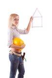 Blonde Reparaturfrau Stockfotografie