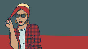 Blonde in retro style. Checked shirt, a scarf Head Royalty Free Stock Images