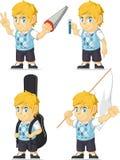 Blonde Rich Boy Customizable Mascot 7 Royalty Free Stock Photos