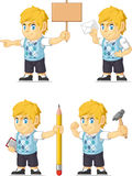 Blonde Rich Boy Customizable Mascot 12. A vector set of a blonde boy in several poses. Drawn in cartoon style, this vector is very good for design that need vector illustration