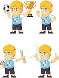 Blonde Rich Boy Customizable Mascot 18. A vector set of a blonde boy in several poses. Drawn in cartoon style, this vector is very good for design that need stock illustration