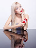 Blonde with ring box Royalty Free Stock Photography