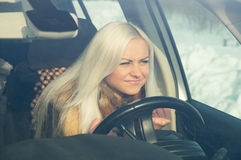 Blonde in road angry Royalty Free Stock Photos
