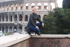 Blonde in rome Royalty Free Stock Image