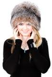 Blonde russische Frau im Pelzhut Stockbild