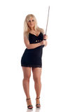 Blonde with a sabre in hands looks at you Stock Images