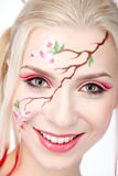 Blonde in the Sakura image. Stock Photos