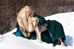 Blonde and saluki Stock Photography