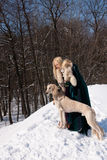 Blonde and saluki Royalty Free Stock Images