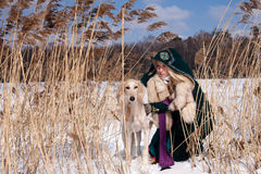 Blonde and saluki Stock Images