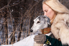 Blonde and saluki Stock Photos