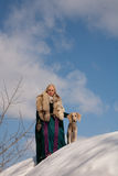 Blonde and saluki Royalty Free Stock Image