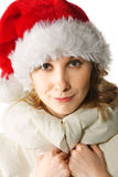 Blonde in Santa cap Royalty Free Stock Image