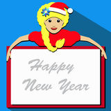 Blonde Santa girl cartoon character holding a list of white paper. Vector illustration Royalty Free Stock Photos