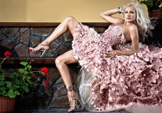 Blonde schöne Luxuxfrau Stockfotografie