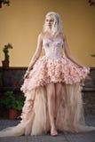 Blonde schöne Luxuxfrau im Art und Weisekleid Stockbild