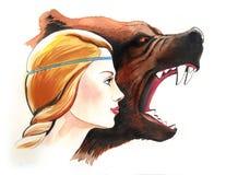 Blonde Schönheit und verärgerter Bär stock abbildung