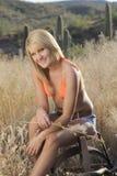 Blonde Schönheits-Wüsten-Szene Stockbilder