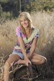 Blonde Schönheits-Wüsten-Szene Stockfotografie