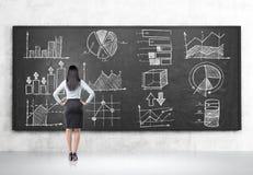 Blonde schauende Diagramme auf Tafel Stockfoto
