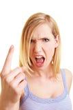 Blonde schreiende Frau Lizenzfreies Stockfoto