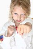 Blonde sechs Einjahres Mädchenhandeln Stockbild
