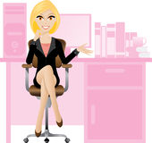 Blonde secretary. Illustration of female secretary sitting on a chair. Office lifestyle Stock Photography