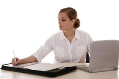 Blonde Secretary with Laptop Royalty Free Stock Photos