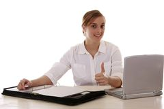 Blonde Secretary Thumbs Up Stock Photos