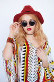 Blonde sensual woman in cow-girl red hat and sunglasses Stock Images