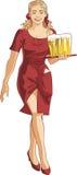 Blonde serveerster Stock Foto's