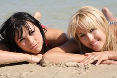 Blonde sexual com brunette fotos de stock royalty free