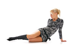Blonde with sexual gown and in boot Stock Image
