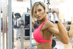Blonde sexy bodybuilder pulldown practice Royalty Free Stock Photos
