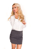 Blonde sexy business lady Stock Images