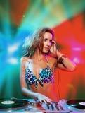 Blonde sexy DJ Immagini Stock Libere da Diritti